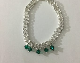 Silver plated half Persian Chainmaille bracelet