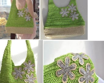 Bright crochet green straw bag