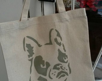 French bulldog and filgeree stencilled small tote bag