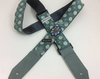 Guitarstrap bleu green retro
