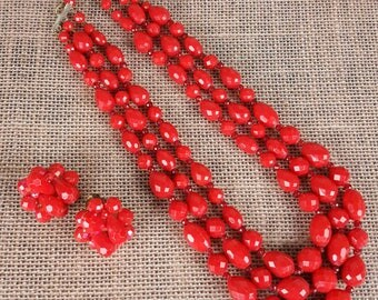 Red Beaded Three Strand Necklace with Matching Clip On Earrings Set Made in W. Germany