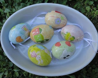 Set of 6 Ceramic Eggs-Easter table decor- Easter eggs- Home Decor-Happy Eggs-Hand Painted