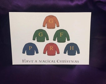 Have A Magical Christmas Harry Potter Inspired Weasley Jumpers Christmas Card