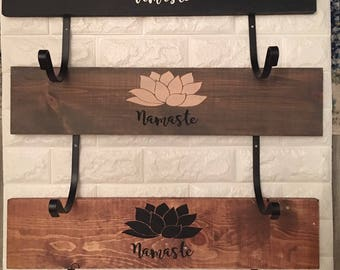 Yoga mat holder, yoga gift, Namaste, yoga rack, rustic, distressed, wood sign, neutral colors, lotus flower, yoga mat storage, personalize
