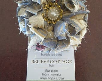 Hair clip,Flower,hand made,shabby chic accessories,vintage fabrics,vintage lace,weddings,formals or every day