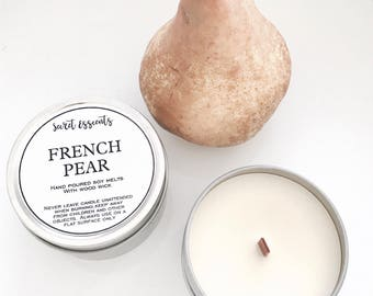 French Pear Natural Soy Wax Tin Candle with Wooden Wick