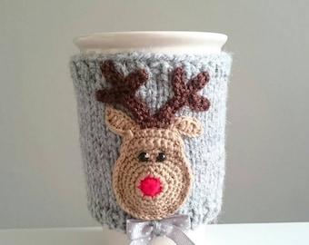 Travel Mug Cozy, Red Nose Reindeer, Rudolph, Mug Sleeve,  Cosy, Christmas Gift