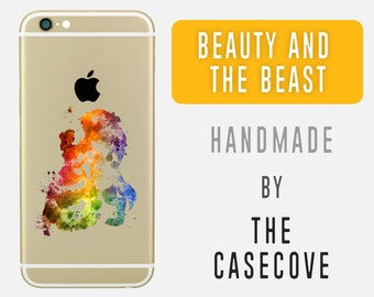 Beauty and the Beast Transparent Disney iPhone Case - 7 SE 4 4s 5 5s 5c 6 6s 6 + Plus - Clear - Watercolour - Protective - Watercolor