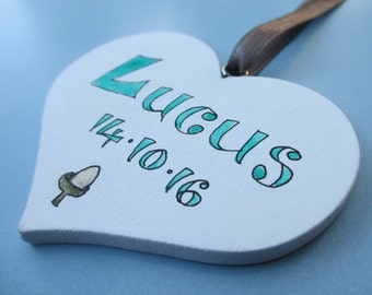 Baby's Wood Heart Personalised Decoration Nursery Ornament Gift Christening New Baby Wooden White Rustic Hand Lettered