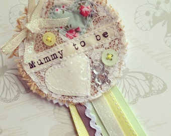 Mummy to be Rosette - Baby Shower Favour Gift - Lemon and Green - Unisex
