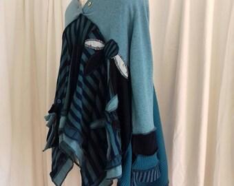 Elven Pixie Upcycled Boho Hippy Lagenlook Sweater