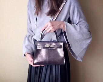 Mini Size Kelly Bag Metallic Dark Silver Leather Handbag - Crossbody bag - Shoulder Bag with silver tone lock & keys - Gift for her