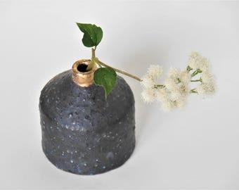 Handmade Vase, Pottery Vase, Black & Gold  Vase, Ceramic Bud  Vase, Small  Vase,