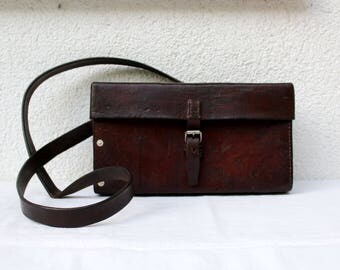 Vintage Swiss Military Leather Bag / Ammo Cartridge Bag / Unique Size Messenger Bag from 1938