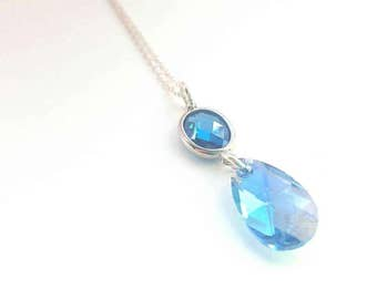 DROP PENDANT - Sterling Silver CZ - Crystal - Elegant - Teardrop - Raindrop - Blue