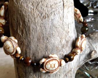 Bracelet, Turtle - Stone Beads, Tigers Eye - Stone-Beads, Handmade, Earth-tone, Ocean Love, Turtle Love, Turtles, Beach Love, 5 Turtle Beads