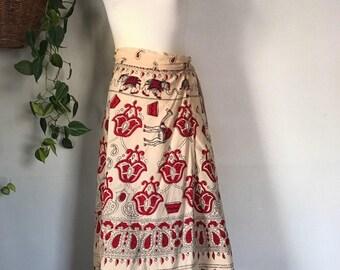 Recycled Vintage Bohemian Wrap Skirt