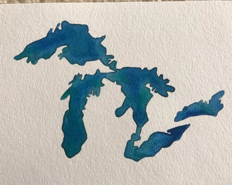 Great Lakes Original Watercolor Painting--5x7