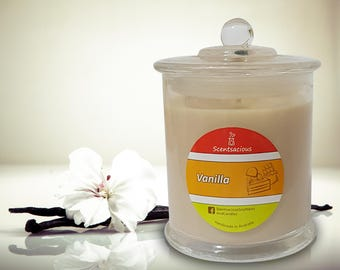 Vanilla Scented Clear Glass Jar Soy Candle Large Size