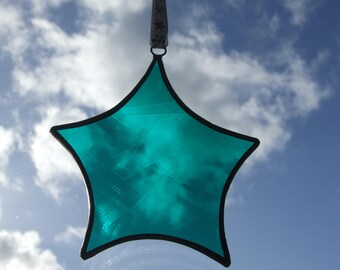 Stained Glass Star Sun Catcher in Teal with Ribbon