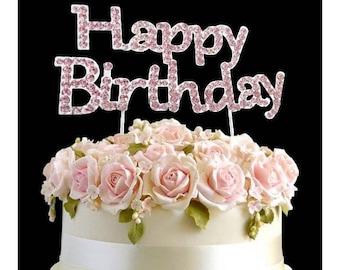Rhinestone Crystal Pink Happy Birthday Topper Diamante Gems Decoration