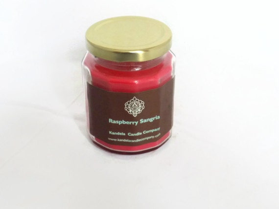 New! Raspberry Sangria Scented Candle in Twelve Sided Jar