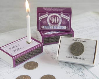 Happy 90th Birthday Greeting In A Matchbox - 90th Birthday Gift - 90th Birthday Card - Birthday Candle - Milestone Birthday - Lucky Sixpence