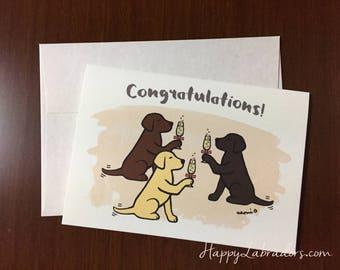 Cute Labrador Retriever Congratulations Card, Made of Bamboo Paper, Congratulations, Labrador Greeting Card