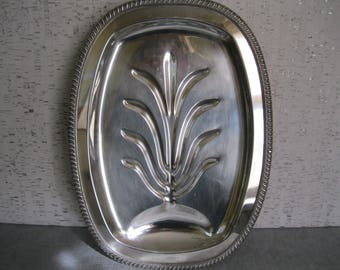 Tree of Life Footed Silver Plate Meat Platter