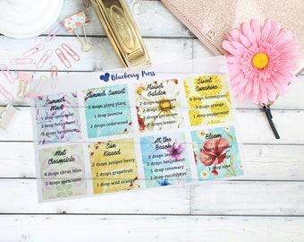 Essential Oil Diffuser Blend recipe stickers | Essential oil stickers
