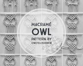 PDF Macrame pattern, Macrame Owl Pattern, Macrame Pattern, Macrame Owl Wall Hanging, Wall Hanging, BoHo Macrame Art, Owl Pattern, MacrameOwl