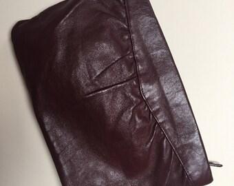Vintage leather clutch // burgandy oxblood