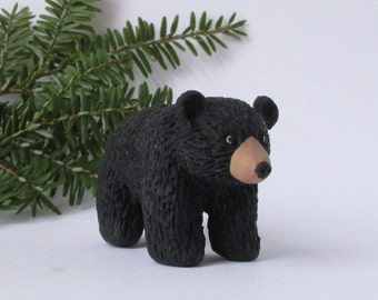 Polymer Clay Black Bear, Realistic Handmade Bear Figurine, Furry Bear Sculpture, Clay Forest Animals, Woods Decor, Bear Art, Miniature Bear