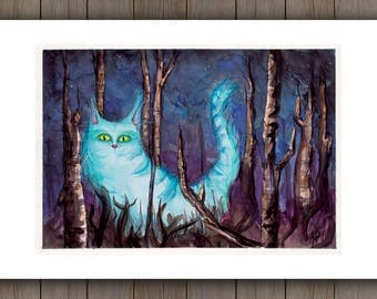 LIMITED EDITION Watercolour Art Print - Glowing Fantasy Forest Cat / Fantasy Handpainted Watercolor Painting / Cat Kingdom
