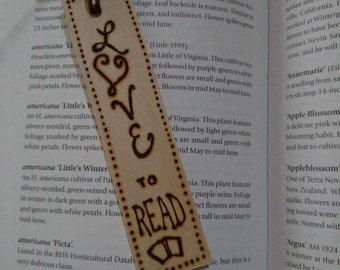 Wood burned   Love to Read   Wood   Bookmark   Read   Booklover Gift   Free Shipping