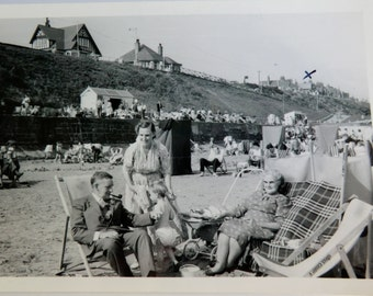 Vintage Beach Photo Canvas Chairs Changing Booths People Dressed Up