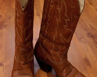 Vintage Women's Tan/Brown Leather Western Cowboy Boots Size 6.5