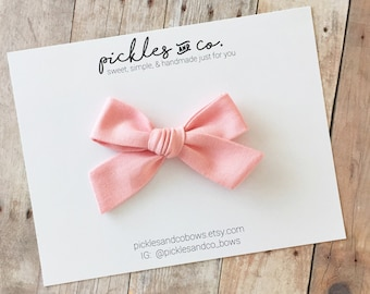 Tied Bow in Primrose Pink - Baby Girl - Choose nylon headband or adjustable clip