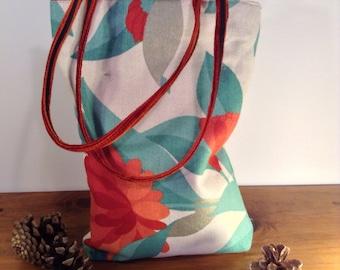 Handmade Floral Handbag Shoulder Bag Burnt Orange Blue Turquoise Flowers Butterfly Luxury Design by AviBag