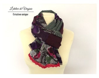 Scarf, scarf, cheche in cotton and sail, purple green lace. Accessory mode. Chic bohemian style / new collection spring summer 2017.