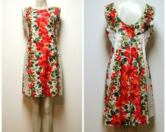 60s Bust 36 Floral Shift Dress Scooped Neckline Waterfall Back Aloha Hawaiian Style Red/Olive Green/White Cotton Large Floral Summer Wear