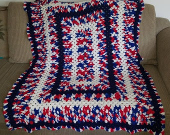 Patriotic Granny Stitch Afghan
