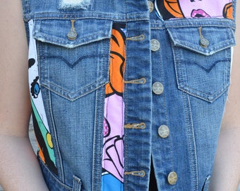 Upcycled cropped denim vest. Womens size Small
