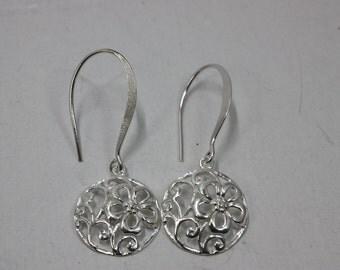 Sterling Silver Dangle Earrings with Flower Design