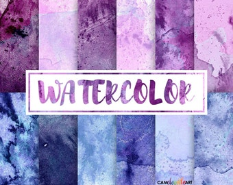 Watercolor Digital Paper Pack, Pink and Purple, Dark Blue, Scrapbooking Paper, Cardmaking,  Watercolor Texture, Watercolor Background
