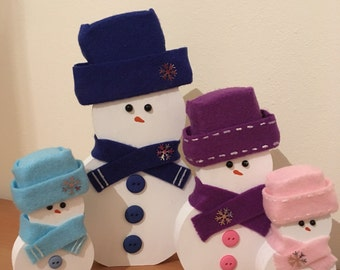 Freestaning hand painted & decorated wooden Christmas decoration