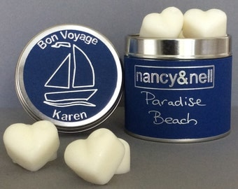 Leaving Gift, 15 Luxury Handmade Scented Wax Melts in a Silver Tin, Goodbye Gift, Bon Voyage Gift, Gift for Her, Gift for Him,