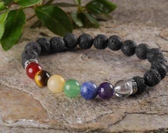 7 Chakra Aromatherapy Power Bracelet with Lava Beads - 7 Chakra Bracelet, Essential Oil Bracelet, Aromatherapy Jewelry, 7 Chakra Stone E0459
