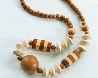 Vintage wood necklace, Wood bead necklace, Wooden necklace, Statement necklace, Necklace