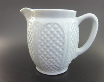 RRP Co, Robinson Ransbottom Pottery, Roseville, USA, Light Blue Quilted Diamond Pattern Earthware Pottery Pitcher, 5 1/2 H, 28 Ounces, 1960s